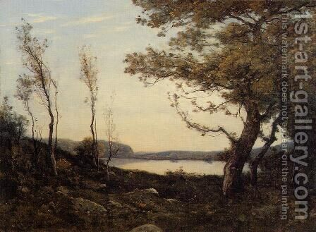 Landscape with Lake by Henri Joseph Harpignies - Reproduction Oil Painting