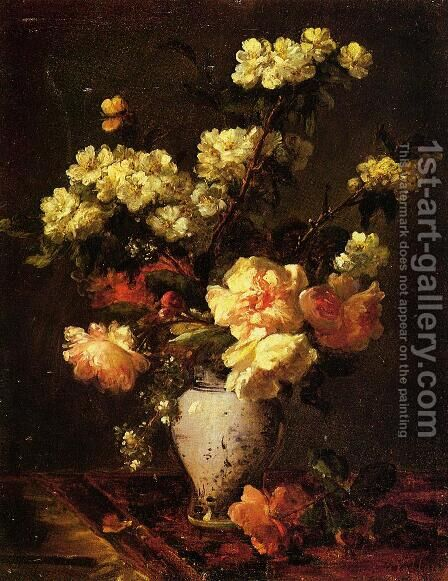 Peonies and Apple Blossoms in a Chinese Vase by Antoine Vollon - Reproduction Oil Painting