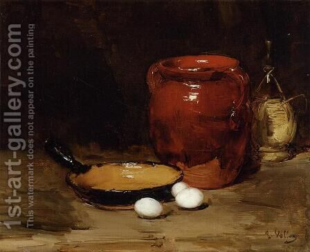 Still Life with a Pen, Jug, Bottle and Eggs on a Table by Antoine Vollon - Reproduction Oil Painting