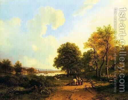 Peasants on a Path by a River by Barend Cornelis Koekkoek - Reproduction Oil Painting