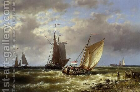 Shipping in Choppy Waters by Abraham Hulk Snr - Reproduction Oil Painting
