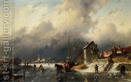 A Frozen River Landscape with a Horsedrawn Sleigh by Charles Henri Leickert - Reproduction Oil Painting