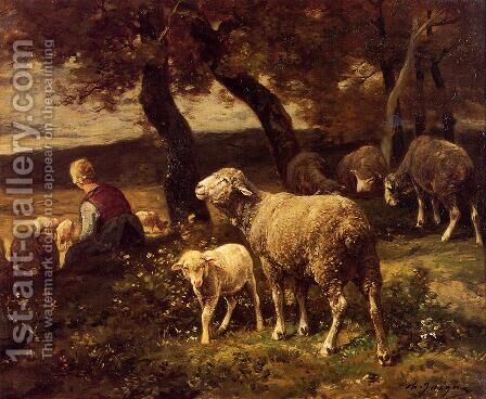 Shepherdess and Sheep by Charles Émile Jacque - Reproduction Oil Painting