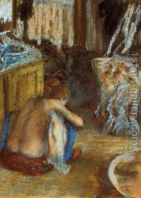 Woman Squatting by Edgar Degas - Reproduction Oil Painting