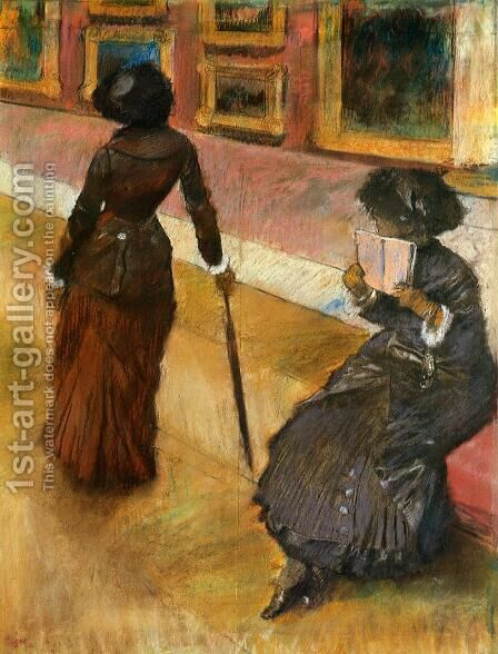 Mary Cassatt at the Louvre I by Edgar Degas - Reproduction Oil Painting
