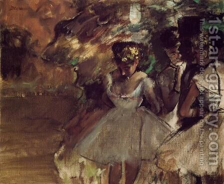 Three Dancers behind the Scenes by Edgar Degas - Reproduction Oil Painting