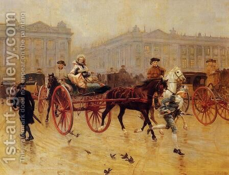 Elegant Figures in the Place de la Concorde by Charles Edouard Edmond Delort - Reproduction Oil Painting