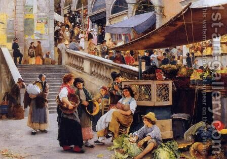 At the Foot of the Rialto, Venice by Henry Woods - Reproduction Oil Painting