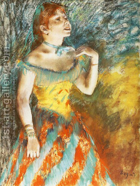Singer in Green by Edgar Degas - Reproduction Oil Painting