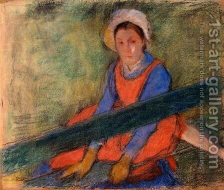 Woman Seated on a Bench by Edgar Degas - Reproduction Oil Painting