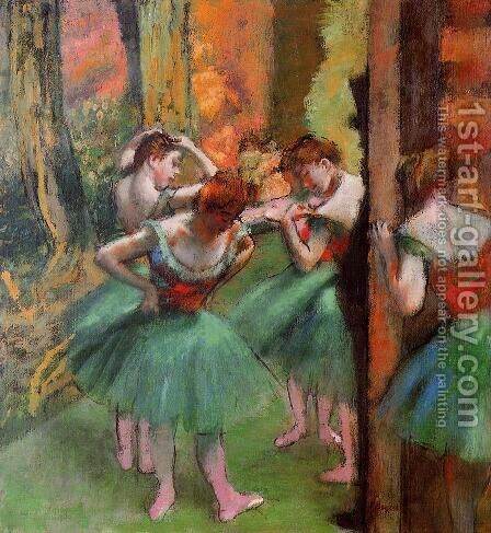 Dancers, Pink and Green by Edgar Degas - Reproduction Oil Painting