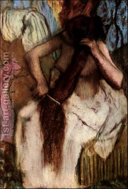 Seated Woman Combing Her Hair by Edgar Degas - Reproduction Oil Painting