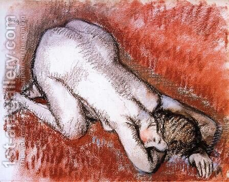 Kneeling Nude by Edgar Degas - Reproduction Oil Painting
