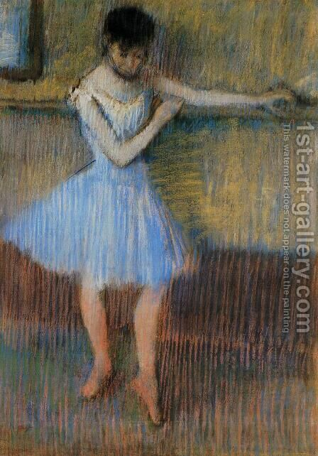Dancer in Blue at the Barre by Edgar Degas - Reproduction Oil Painting