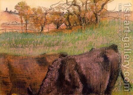 Landscape: Cows in the Foreground by Edgar Degas - Reproduction Oil Painting