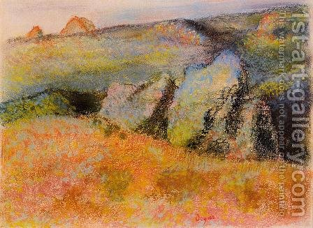 Landscape with Rocks by Edgar Degas - Reproduction Oil Painting