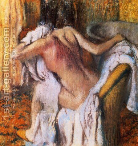 After the Bath, Woman Drying Herself I by Edgar Degas - Reproduction Oil Painting