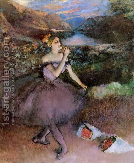 Dancer with Bouquets by Edgar Degas - Reproduction Oil Painting