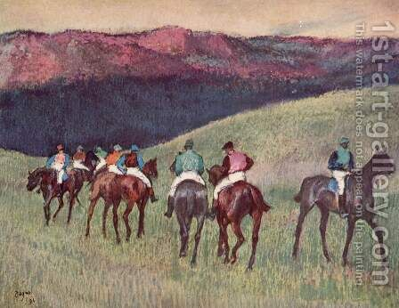 Racehorses in a  Landscape by Edgar Degas - Reproduction Oil Painting
