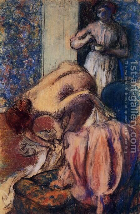 Breakfast after Bathing by Edgar Degas - Reproduction Oil Painting