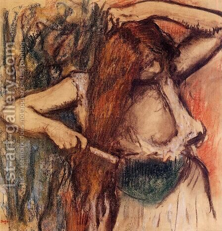 Woman Combing Her Hair IV by Edgar Degas - Reproduction Oil Painting
