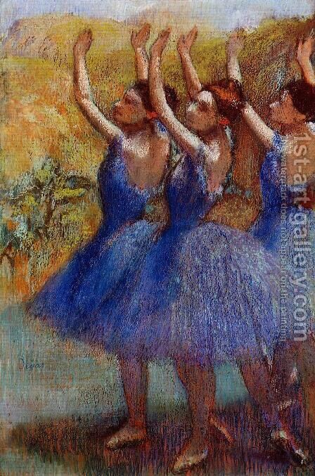 Three Dancers in Purple Skirts by Edgar Degas - Reproduction Oil Painting