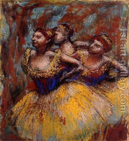 Three Dancers: Yellow Skirts, Blue Blouses by Edgar Degas - Reproduction Oil Painting