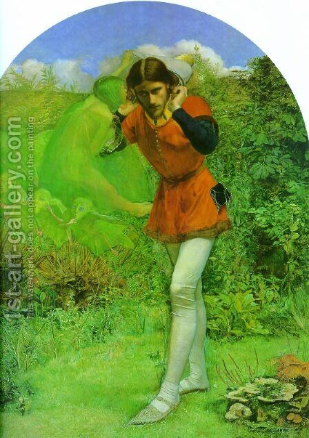 Ferdinand and Ariel by Arthur Hughes - Reproduction Oil Painting