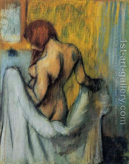 Woman with a Towel by Edgar Degas - Reproduction Oil Painting