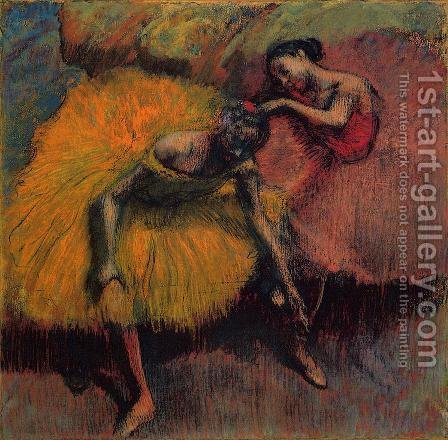 Two Dancers in Yellow and Pink by Edgar Degas - Reproduction Oil Painting