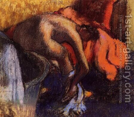 After Bathing, Woman Drying Her Leg by Edgar Degas - Reproduction Oil Painting