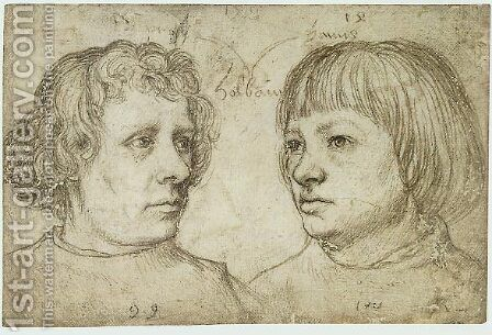 Ambrosius and Hans Holbein the Younger by Hans, the Younger Holbein - Reproduction Oil Painting