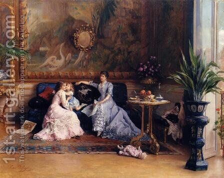 The Afternoon Visit by Gustave Leonhard de Jonghe - Reproduction Oil Painting