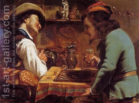 The Draughts Players by Gustave Courbet - Reproduction Oil Painting