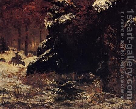 Deer in the Snow by Gustave Courbet - Reproduction Oil Painting