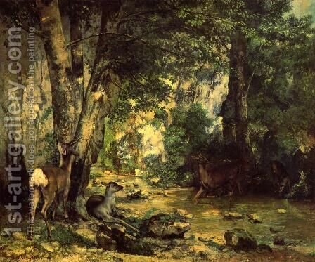 The Shelter of the Roe Deer at the Stream of Plaisir-Fontaine, Doubs by Gustave Courbet - Reproduction Oil Painting