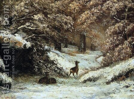 Deer Taking Shelter in Winter by Gustave Courbet - Reproduction Oil Painting