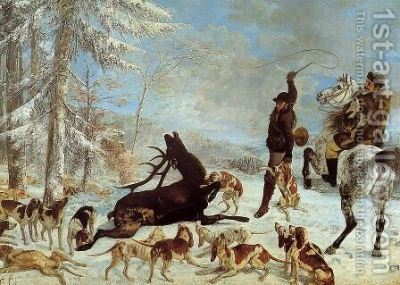 The Hallali of the Stag by Gustave Courbet - Reproduction Oil Painting