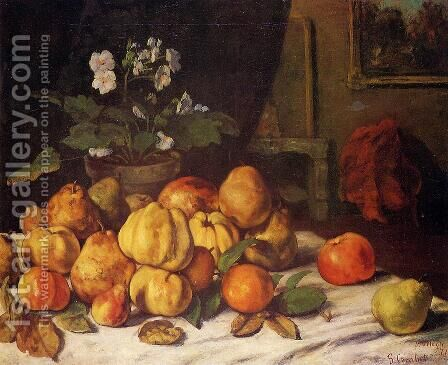 Still Life: Apples, Pears and Primroses on a Table by Gustave Courbet - Reproduction Oil Painting