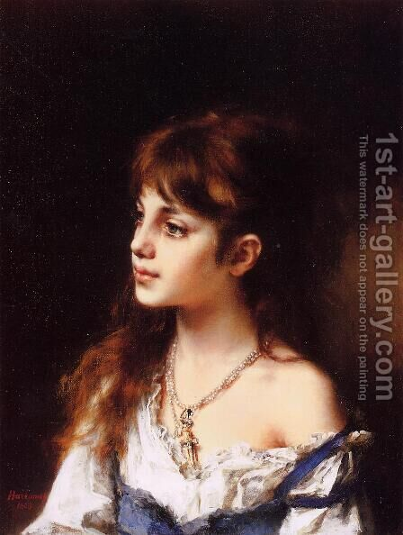 The Young Model by Alexei Alexeivich Harlamoff - Reproduction Oil Painting