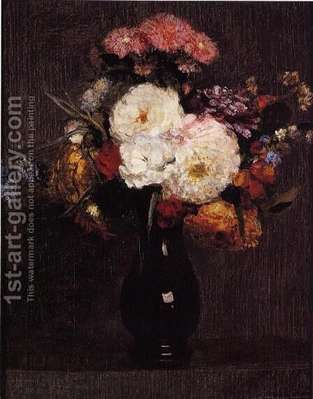 Dahlias, Queens Daisies, Roses and Corn Flowers by Ignace Henri Jean Fantin-Latour - Reproduction Oil Painting