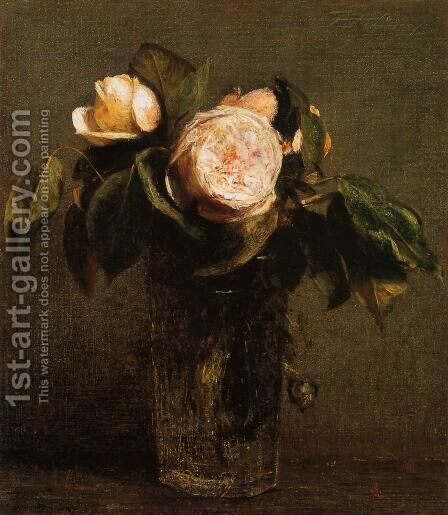 Roses in a Tall Glass by Ignace Henri Jean Fantin-Latour - Reproduction Oil Painting