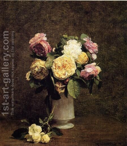 Roses in a White Porcelin Vase by Ignace Henri Jean Fantin-Latour - Reproduction Oil Painting