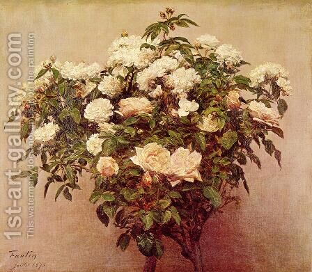 Rose Trees - White Roses by Ignace Henri Jean Fantin-Latour - Reproduction Oil Painting