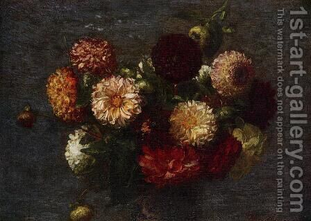 Chrysanthemums II by Ignace Henri Jean Fantin-Latour - Reproduction Oil Painting