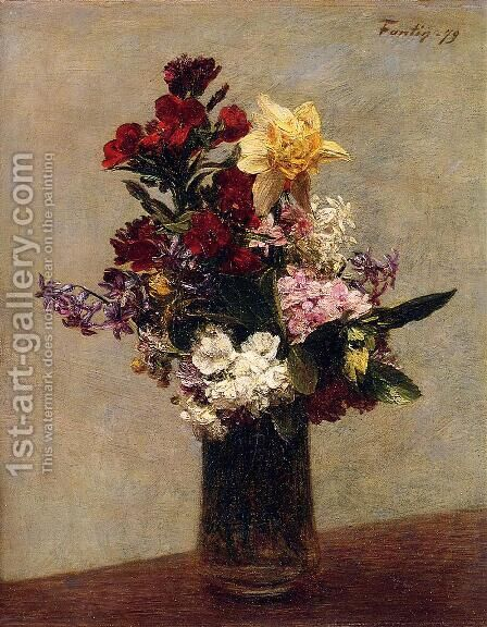 Spring Flowers I by Ignace Henri Jean Fantin-Latour - Reproduction Oil Painting