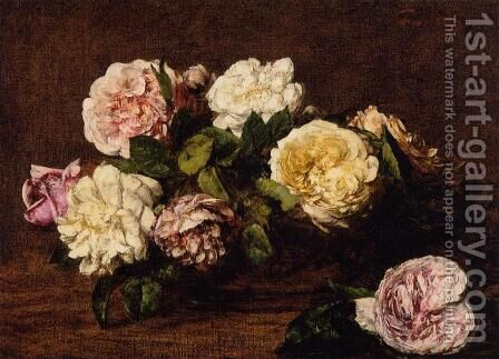 Flowers: Roses I by Ignace Henri Jean Fantin-Latour - Reproduction Oil Painting