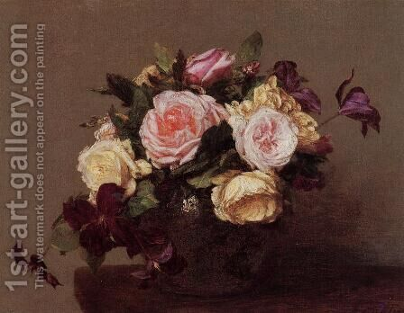 Roses and Clematis by Ignace Henri Jean Fantin-Latour - Reproduction Oil Painting