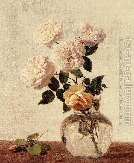 Roses III by Ignace Henri Jean Fantin-Latour - Reproduction Oil Painting