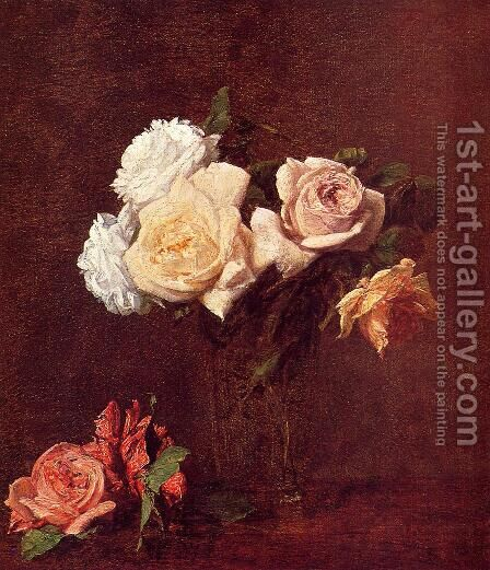 Roses in a Vase by Ignace Henri Jean Fantin-Latour - Reproduction Oil Painting